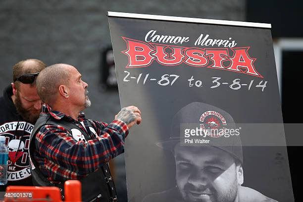Chris Morris the father of the late Connor Morris holds a memorial for his son following a memorial ride on August 1 2015 in Auckland New Zealand...