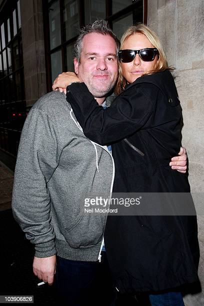 Chris Moyles and Patsy Kensit Sighted outside BBC Radio One on September 8 2010 in London England