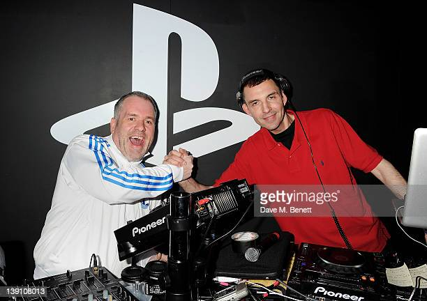 Chris Moyles and Tim Westwood attend the PlayStation Vita Rooms prelaunch event ahead of the console's official February 22 release at the Vita Room...