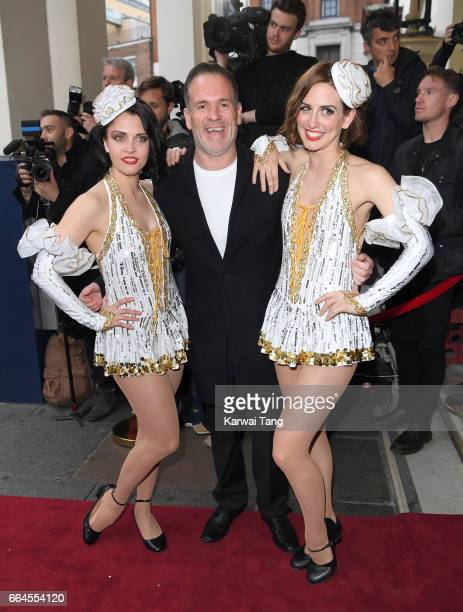 Chris Moyles attends the opening night of 42nd Street at Theatre Royal on April 4 2017 in London England The opening night is a fundraising event for...