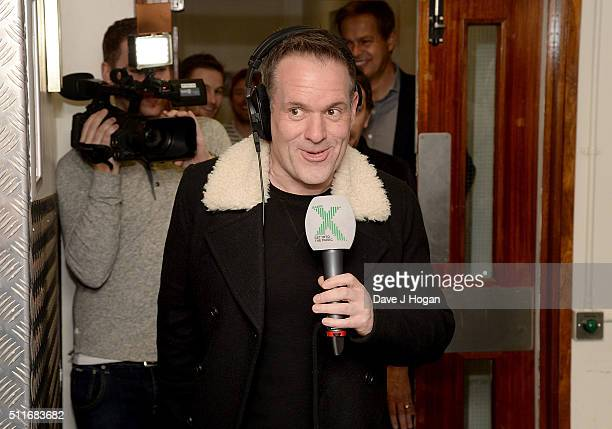Chris Moyles is surprised by his family and friendsduring a surprise birthday party on Radio X at Global Radio Studios on February 22 2016 in London...