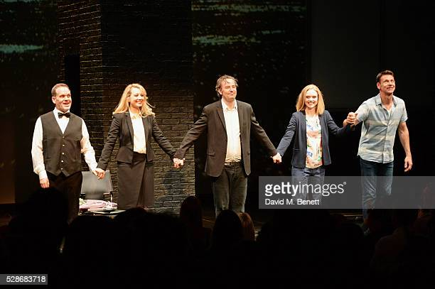 Chris Moyles Jennifer Mudge Matthew Perry Christina Cole and Lloyd Owen bow at the curtain call as Moyles joins the cast of Matthew Perry's The End...