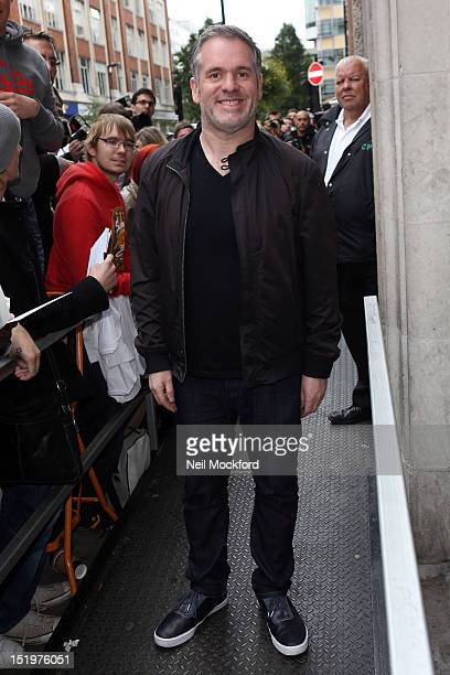 Chris Moyles seen leaving BBC Radio One after his last Breakfast Show on September 14 2012 in London England