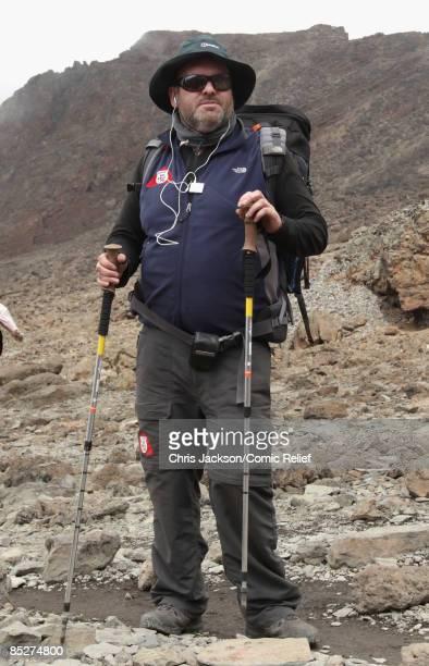 Chris Moyles treks on day six day of The BT Red Nose Climb of Kilimanjaro on March 5 2009 near Arusha Tanzania Celebrities Ronan Keating Gary Barlow...