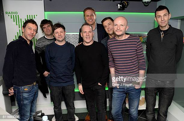 Chris Moyles with Tim Westwood Peter Jones and Shed Seven his favourite band of all time at his surprise birthday party on Radio X at Global Radio...