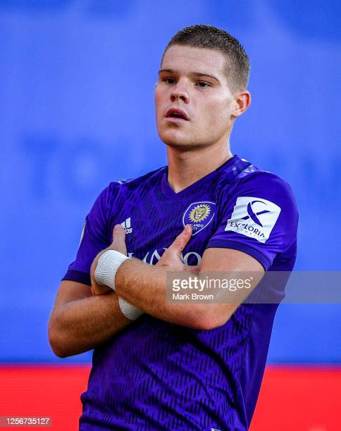 Chris Mueller of Orlando City SC celebrates after scoring during a Group A match against New York City FC as part of MLS is Back Tournament at ESPN...
