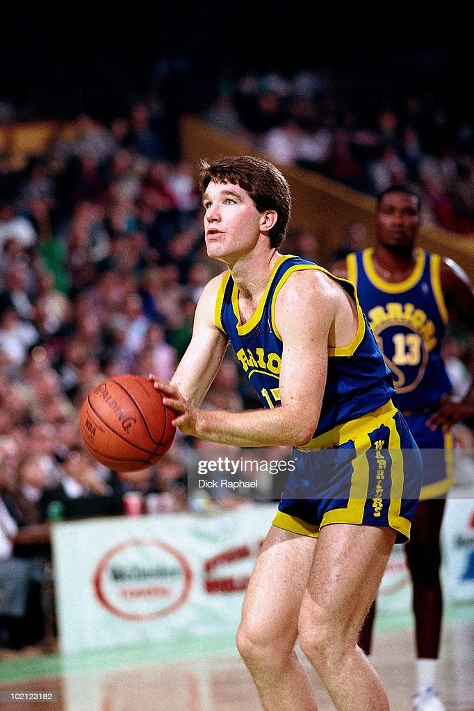 Chris Mullin #17 of the Golden State Warriors shoots a free throw against the Boston Celtics during a game played in 1987 at the Boston Garden in Boston, Massachusetts.