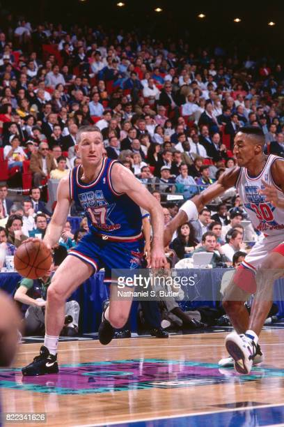 Chris Mullin of the Western Conference AllStar Team drives to the basket around Scottie Pippen of the Eastern Conference AllStar Team on February 9...