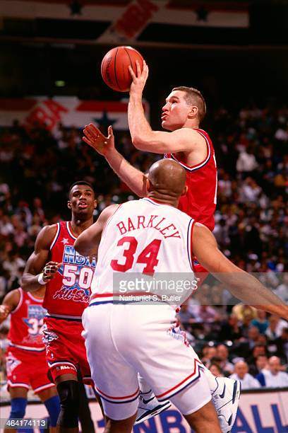 Chris Mullin of the Western Conference AllStars shoots the ball during the 1991 All Star Weekend on February 10 1991 at the Charlotte Coliseum in...