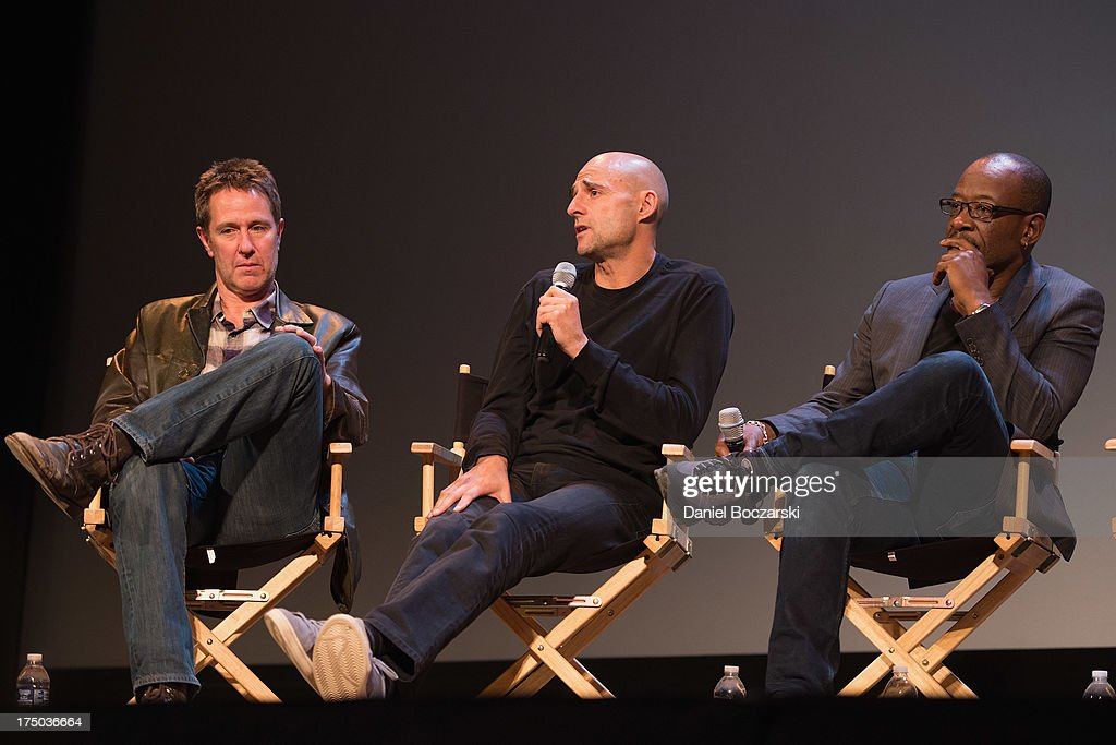 Chris Mundy, Mark Strong and Lennie James attend AMC's 'Low Winter Sun' cast Q&A with Art House Convergence on July 29, 2013 in Ann Arbor, Michigan.