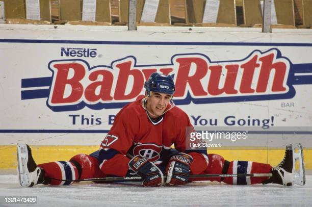 Chris Murray, Right Wing for the Montreal Canadiens goes through his stretching exercise routine before the NHL Eastern Conference Northeast Division...