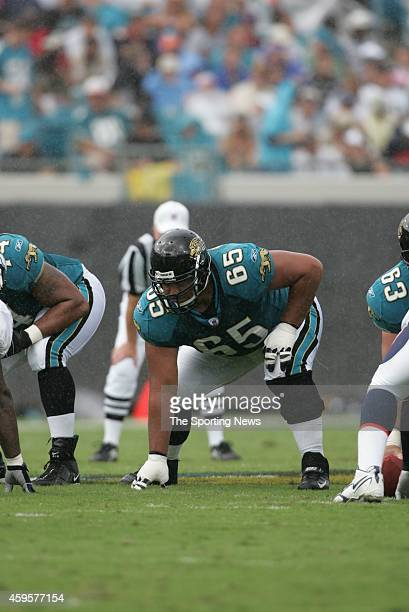 Chris Naeole of the Jacksonville Jaguars at the line of scrimmage during a game against the Denver Broncos on October 2 2005 at Alltel Stadium in...