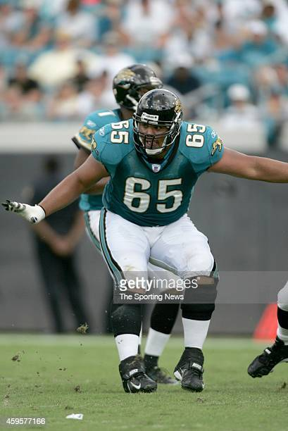 Chris Naeole of the Jacksonville Jaguars looks to makes a block during a game against the Denver Broncos on October 2 2005 at Alltel Stadium in...
