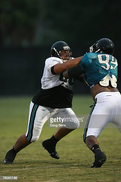 Chris Naeole of the Jacksonville Jaguars works out during training camp at Alltel Stadium practice facililty on July 31 2007 in Jacksonville Florida