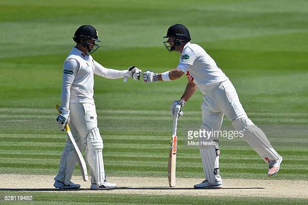 Chris Nash and Matt Machan of Sussex fist pump after another Nash boundary on the fourth day of the Specsavers County Championship Division Two match...