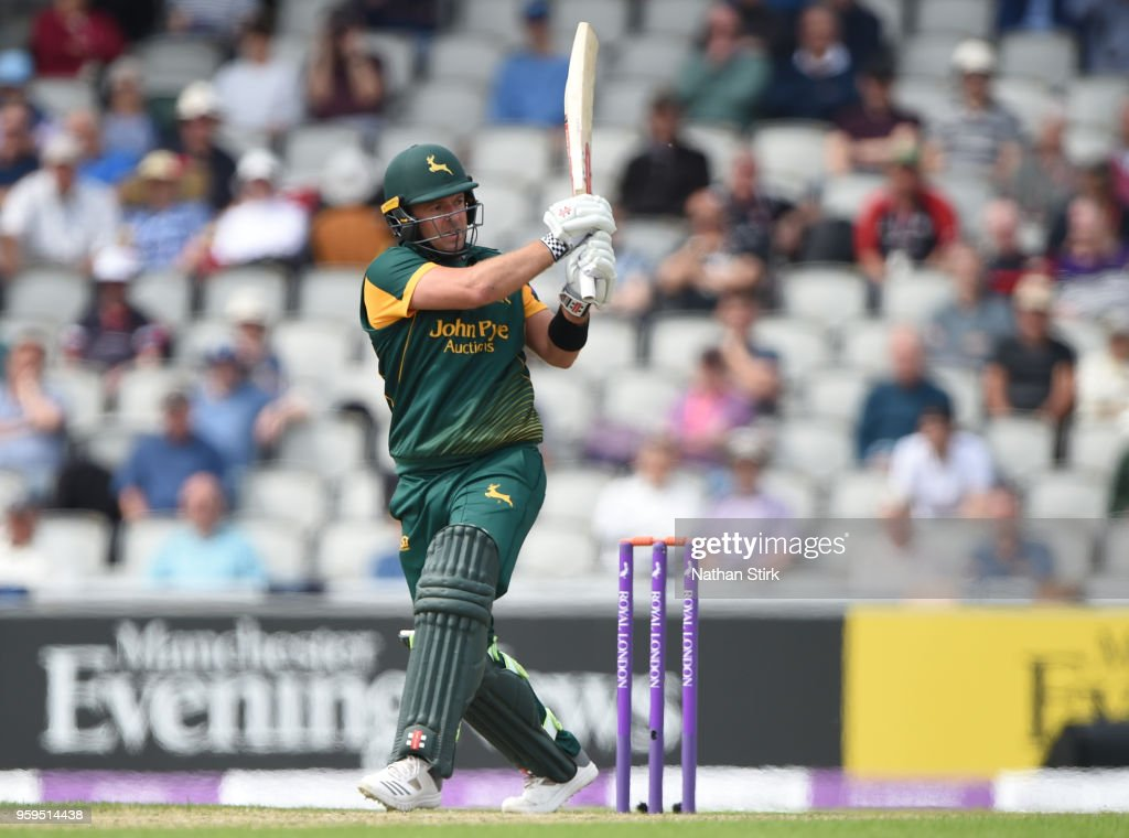 Chris Nash of Nottingham plays the pull shot during the Royal London One-Day Cup match between Lancashire and Nottinghamshire at Old Trafford on May 17, 2018 in Manchester, England.