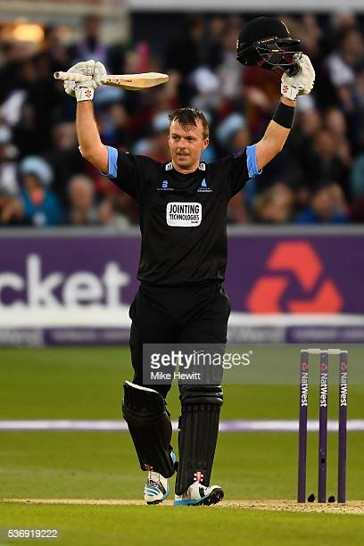 Chris Nash of Sussex celebrates reaching his century during the NatWest T20 Blast between Sussex and Somerset at The 1st Central County Ground on...