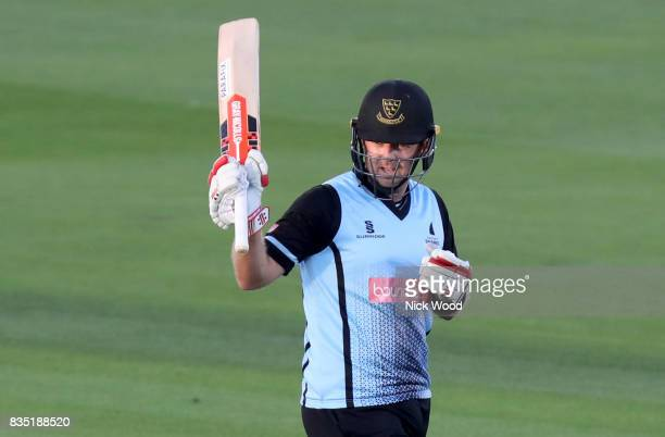 Chris Nash of Sussex celebrates scoring fifty runs during the Sussex v Essex NatWest T20 Blast cricket match at the 1st Central County Ground on...