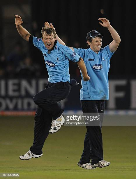 Chris Nash of Sussex celebrates taking the wicket of Murali Kartik of Somerset during the Friends Provident T20 match between Sussex and Somerset at...