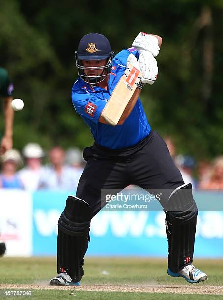 Chris Nash of Sussex hits out during Royal London OneDay Cup match between Sussex Sharks and Nottinghamshire Outlaws at Horsham Cricket Ground on...