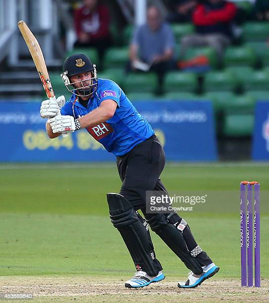 Chris Nash of Sussex hits out during Royal London OneDay Cup match between Kent Spitfires and Sussex Sharks at The Spitfire Ground St Lawrence on...