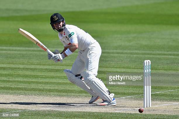 Chris Nash of Sussex hits out during the fourth day of the Specsavers County Championship Division Two match between Sussex and Leicestershire on May...
