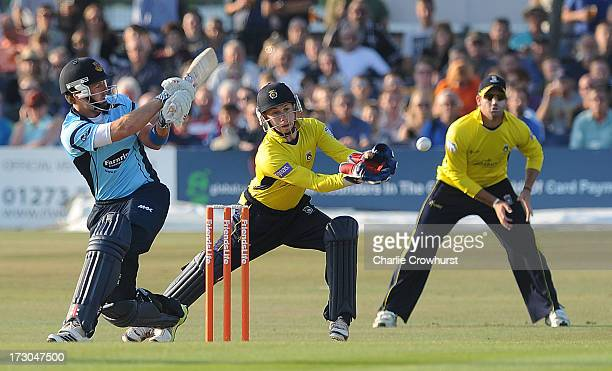 Chris Nash of Sussex hits out during the Friends Life T20 match between Sussex Sharks and Hampshire Royals at The Brighton and Hove Jobs County...