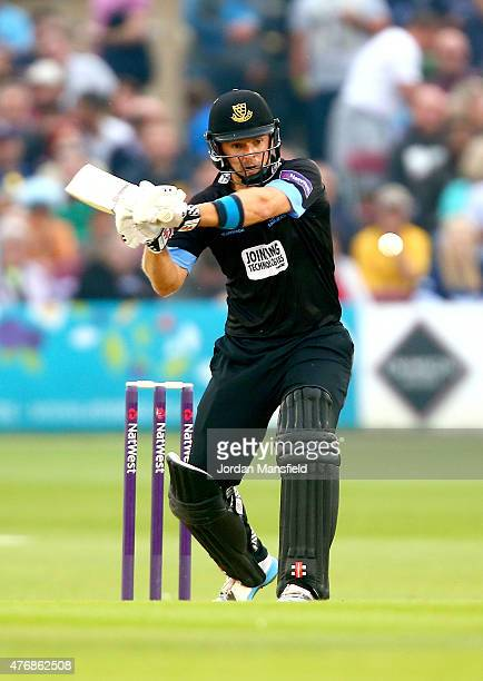 Chris Nash of Sussex hits out during the T20 Blast match between Sussex Sharks and Essex Eagles at BrightonandHoveJobscom County Ground on June 12...