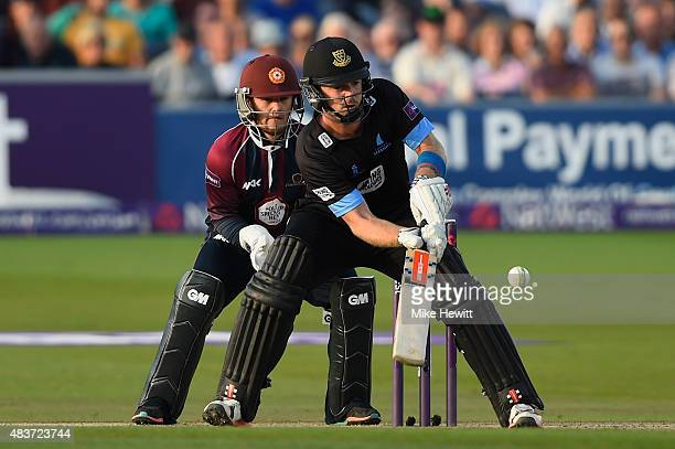 Chris Nash of Sussex plays a scoop shot for four as wicketkeeper Ben Duckett of Northamptonshire looks on during the NatWest T20 Blast Quarter Final...