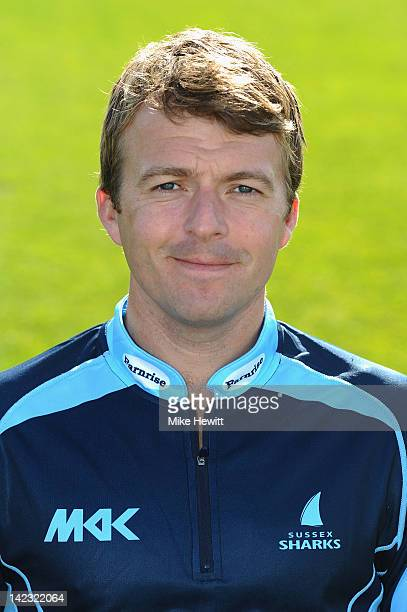Chris Nash of Sussex poses for a portrait in CB40 kit during the Sussex CCC photocall at the County Ground on April 2 2012 in Hove England