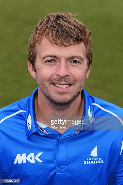 Chris Nash of Sussex poses for a portrait in the Yorkshire Bank 40 kit during a Sussex CCC Photocall on April 3 2013 in Hove England