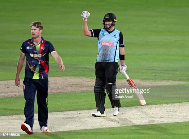 Chris Nash of Sussex Sharks celebrates after scoring the winning runs off the bowling of Jimmy Neesham of Kent Spitfires at the end of the match...