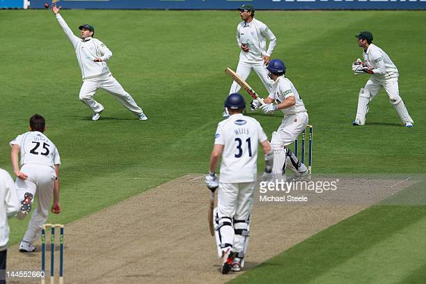 Chris Nash of Sussex survives a sharp chance to Daryl Mitchell at second slip off the bowling of Richard Jones during day one of the LV County...