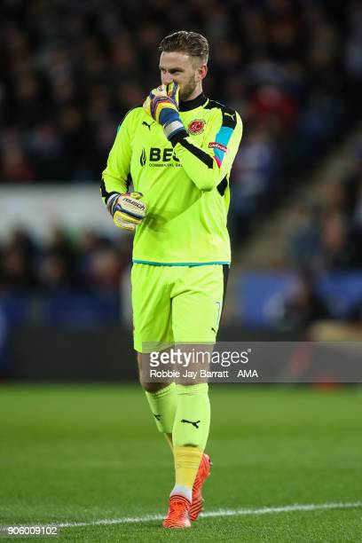 Chris Neal of Fleetwood Town during The Emirates FA Cup Third Round Replay match between Leicester City and Fleetwood Town at The King Power Stadium...