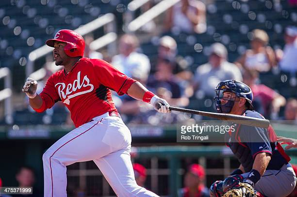 Chris Nelson of the Cincinnati Reds bats during a spring training game against the Cleveland Indians at Goodyear Ballpark on February 27 2014 in...