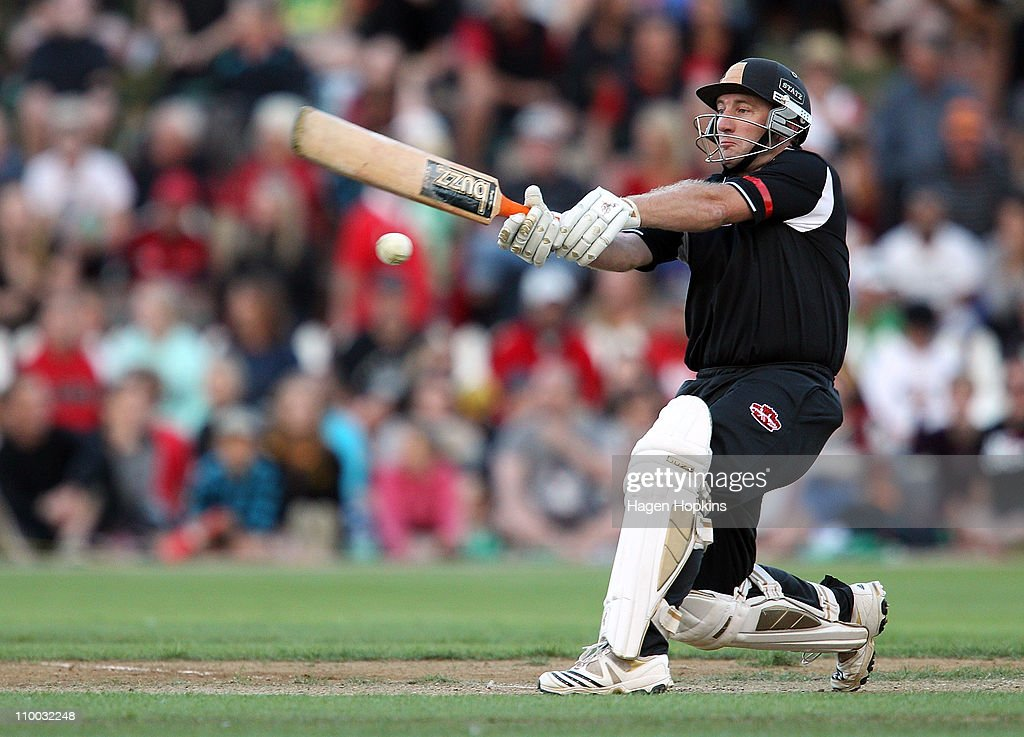 Chris Nevin bats during the Christchurch Earthquake Relief Charity Twenty20 match at Basin Reserve on March 13, 2011 in Wellington, New Zealand.