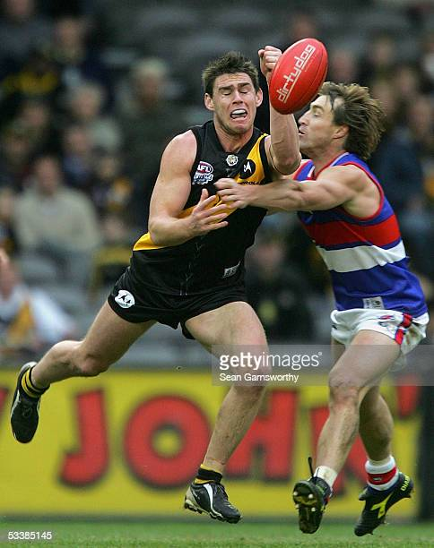 Chris Newman for Richmond and Scott West for the Bulldogs in action during the AFL Round 20 match between the Richmond Tigers and Western Bulldogs at...