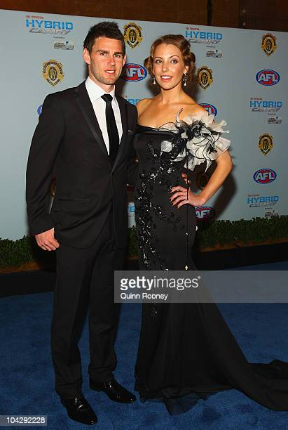 Chris Newman of the Tigers and his partner Lauren Poulter arrive at the 2010 AFL Brownlow Medal at Crown Entertainment Complex on September 20 2010...