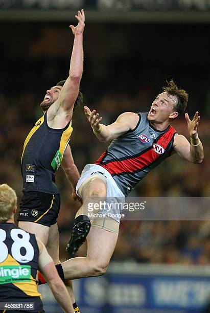 Chris Newman of the Tigers competes for the ball against Brendon Goddard of the Bombers during the round 20 AFL match between the Richmond Tigers and...