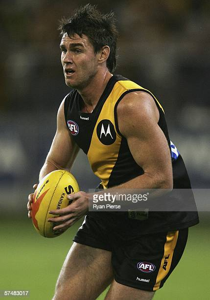 Chris Newman of the Tigers in action during the round five AFL match between the Richmond Tigers and the Carlton Blues at the Melbourne Cricket...