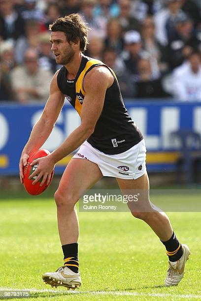 Chris Newman of the Tigers kicks during the round six AFL match between the Geelong Cats and the Richmond Tigers at Skilled Stadium on May 2 2010 in...