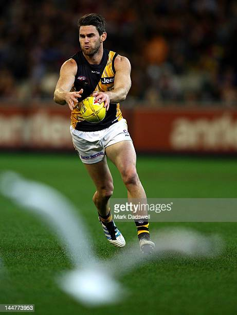 Chris Newman of the Tigers looks for a teammate during the round eight AFL match between the Essendon Bombers and the Richmond Tigers at the...