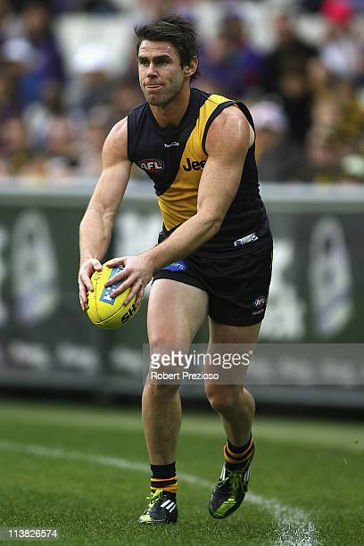 Chris Newman of the Tigers prepares to kick during the round seven AFL match between the Richmond Tigers and the fremantle Dockers at Melbourne...
