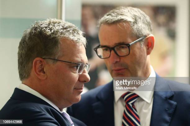 Chris Nikou talks to Stephen Conroy during the Football Federation Australia Annual General Meeting at FFA Offices on November 19 2018 in Sydney...