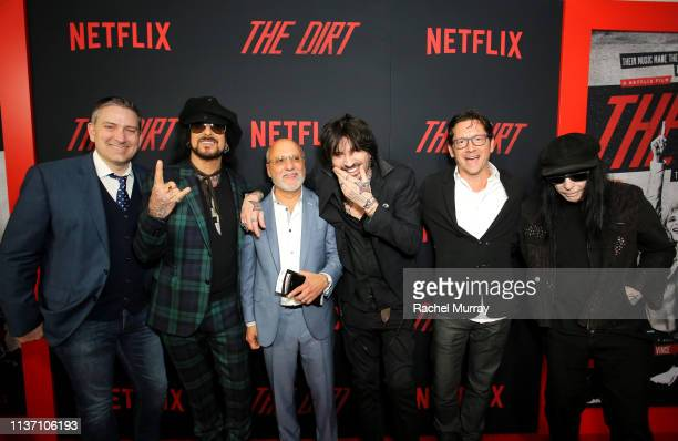 Chris Nilsson Nikki Sixx Allen Kovac Tommy Lee Steve Kline and Mick Mars attends the premiere of Netflix's 'The Dirt' at the Arclight Hollywood on...