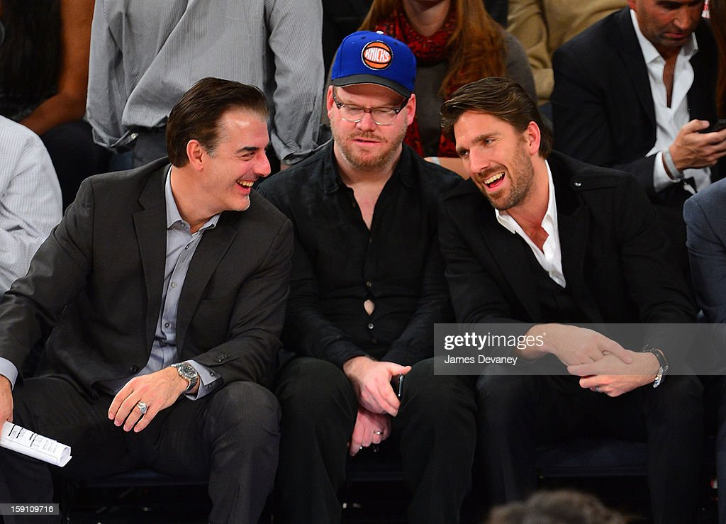 Chris Noth, Jim Gaffigan and Henrik Lundqvist attend the Boston Celtics vs New York Knicks game at Madison Square Garden on January 7, 2013 in New York City.