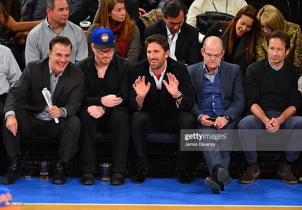 Chris Noth, Jim Gaffigan, Henrik Lundqvist, guest and David Duchovny attend the Boston Celtics vs New York Knicks game at Madison Square Garden on January 7, 2013 in New York City.