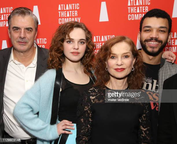 Chris Noth Odessa Young Isabelle Huppert and Justice Smith during the Opening Night after party for Atlantic Theater Company's 'The Mother' at The...