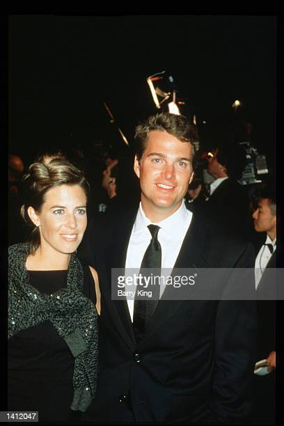 Chris O'' Donnell and his wife Caroline Fentress attend the Vanity Fair Oscar party March 21 1999 in Los Angeles CA The party organized by Vanity...