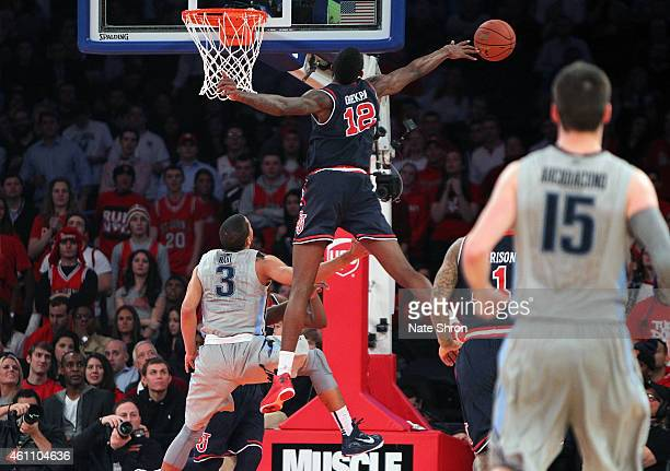 Chris Obekpa of the St John's Red Storm jumps up to block a shot against the Villanova Wildcats during the game at Madison Square Garden on January 6...